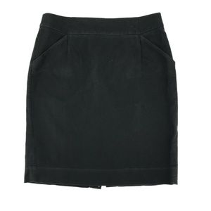 J Crew The Pencil Skirt Sz 10 Black Cotton Fitted